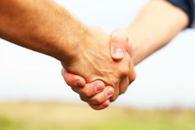 Open hand shake