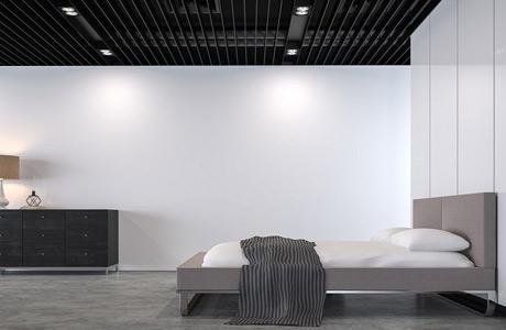 Modern loft bedroom polished concrete floor