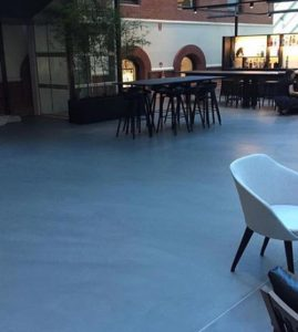 An outdoor bar in Perth with polished concrete