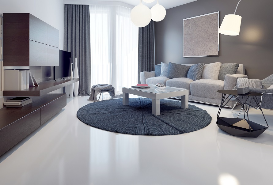 A polished indoor concrete floor